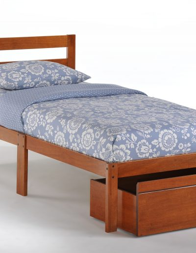 Bed-to-Go Twin Cherry w Drawer opened