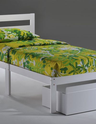 Bed-to-Go Twin White w Drawer opened
