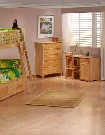 Cinnamon Twin Twin Bunk Suite Natural w Trundle closed