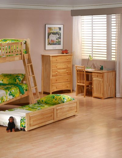 Cinnamon Twin Twin Bunk Suite Natural w Trundle opened