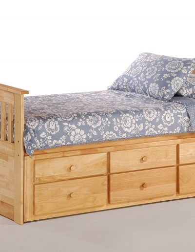 Ginger Captains Bed Twin Natural w Trundle closed