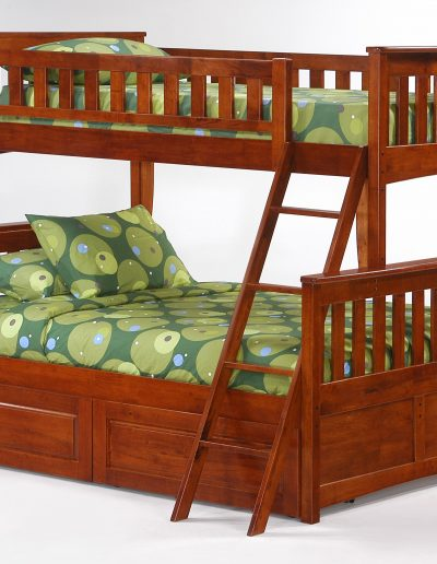 Ginger Twin Full Bunk Cherry w Cinnamon Drawers closed