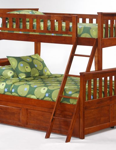 Ginger Twin Full Bunk Cherry w Cinnamon Trundle Bed closed