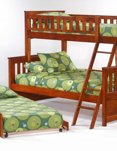 Ginger Twin Full Bunk Cherry w Cinnamon Trundle Bed open