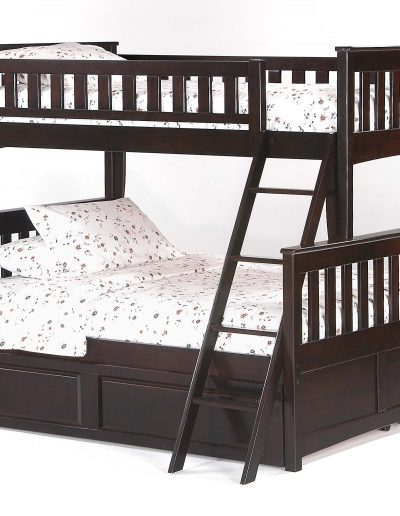 Ginger Twin Full Bunk Dark Chocolate w Cinnamon Trundle Bed closed