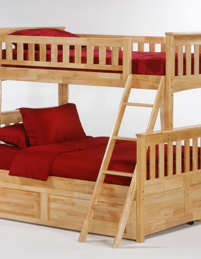 Ginger Twin Full Bunk Natural w Cinnamon Trundle Bed closed