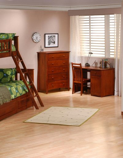 Ginger Twin Full Bunk Suite Cherry w Cinnamon Drawers closed