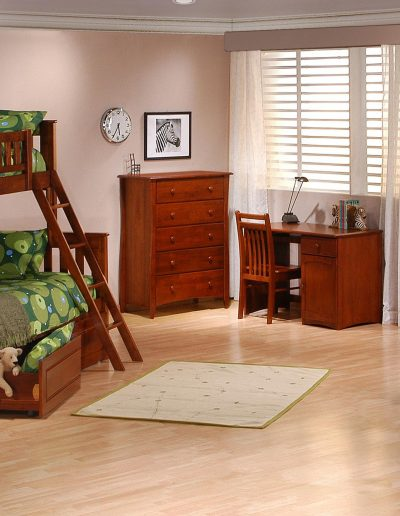 Ginger Twin Full Bunk Suite Cherry w Cinnamon Drawers open