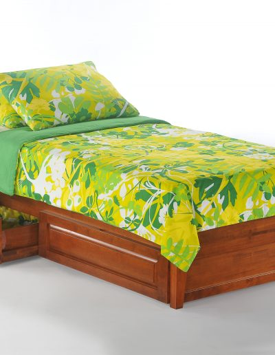 P-Series Basic Bed Twin Cherry w Rolling Storage Drawer opened & Footboard Panel