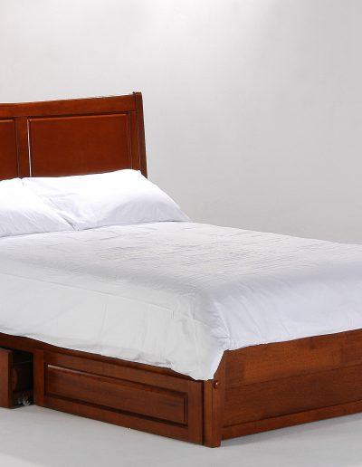 Saffron Bed Full Cherry w Rolling Storage Drawer opened