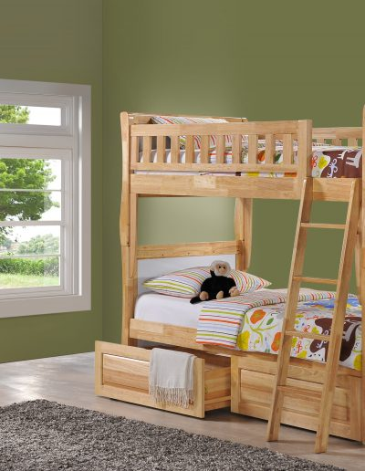 Scribbles Twin Twin Natural w Clove Dresser & Drawer opened