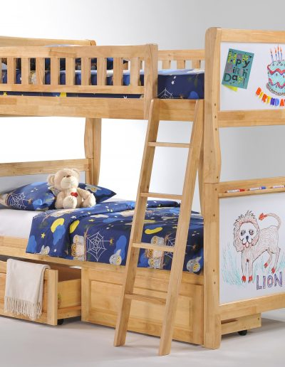 Scribbles Twin Twin Natural w Drawer opened