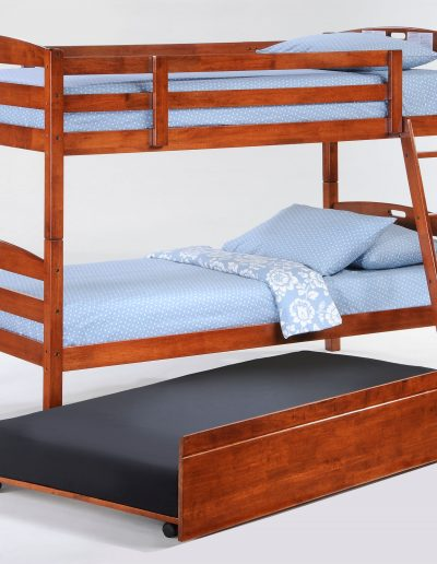 Sesame Twin Full Bunk Cherry w Trundle opened