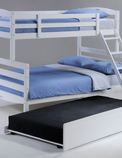 Sesame Twin Full Bunk White w Trundle opened