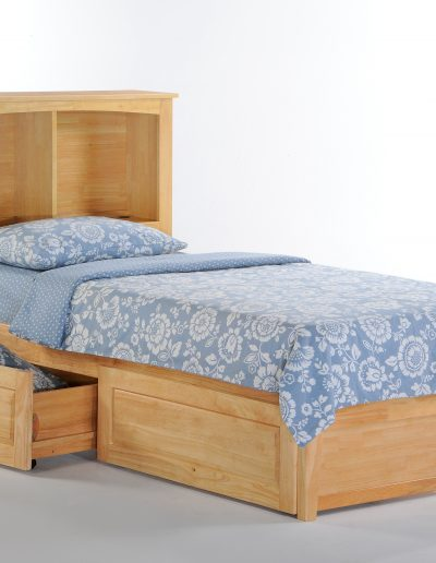 Vanilla Bed Twin Natural w Drawer opened