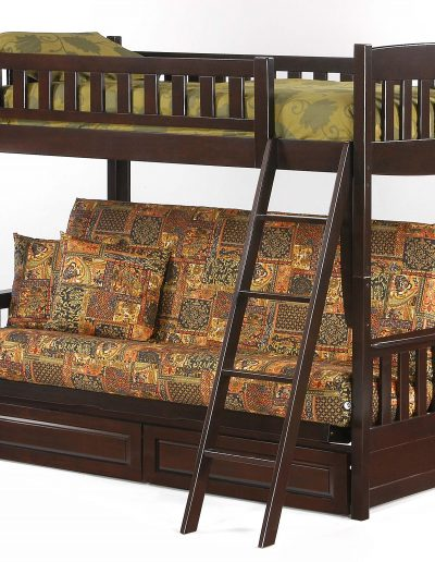 Cinnamon Futon Bunk Dark Chocolate w Drawers closed