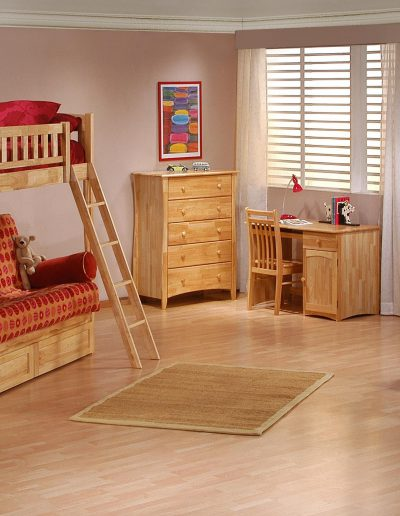 Cinnamon Futon Bunk Suite Natural w Drawers closed