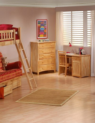 Cinnamon Futon Bunk Suite Natural w Drawers opened
