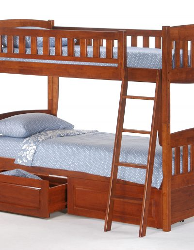 Cinnamon Twin Twin Bunk Cherry w Drawer opened