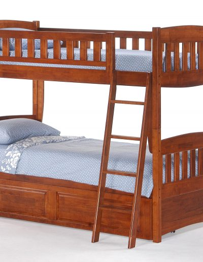 Cinnamon Twin Twin Bunk Cherry w Trundle closed