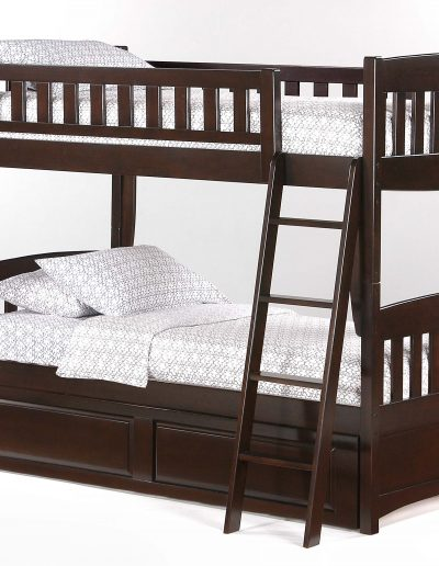 Cinnamon Twin Twin Bunk Dark Chocolate w Trundle closed