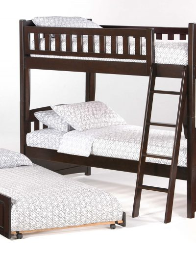 Cinnamon Twin Twin Bunk Dark Chocolate w Trundle opened