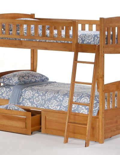 Cinnamon Twin Twin Bunk Medium Oak w Drawer opened