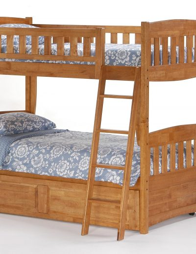 Cinnamon Twin Twin Bunk Medium Oak w Trundle closed