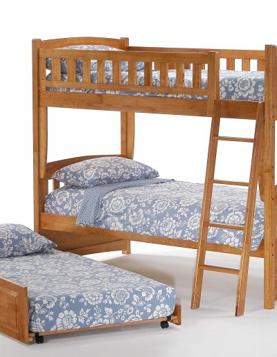 Cinnamon Twin Twin Bunk Medium Oak w Trundle opened