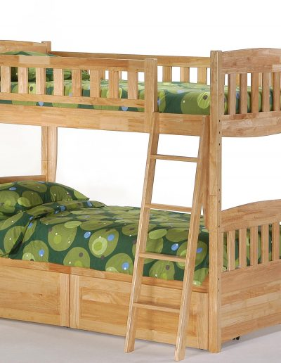 Cinnamon Twin Twin Bunk Natural w Drawers closed