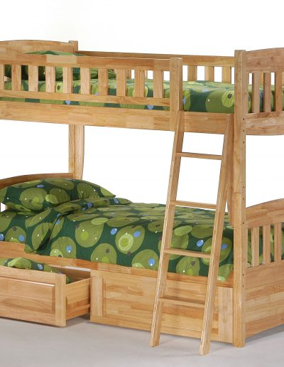 Cinnamon Twin Twin Bunk Natural w Drawers opened