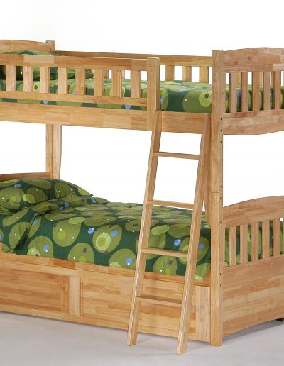 Cinnamon Twin Twin Bunk Natural w Trundle closed