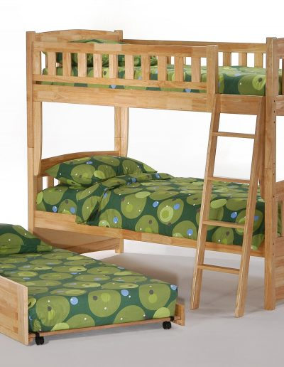 Cinnamon Twin Twin Bunk Natural w Trundle opened