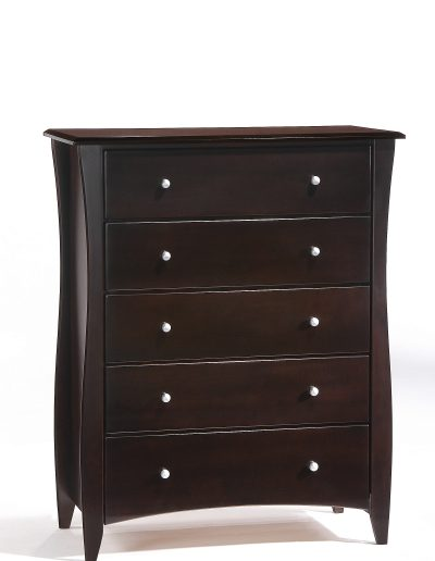 Clove 5 Drawer Dresser Dark Chocolate (Metal Knobs)