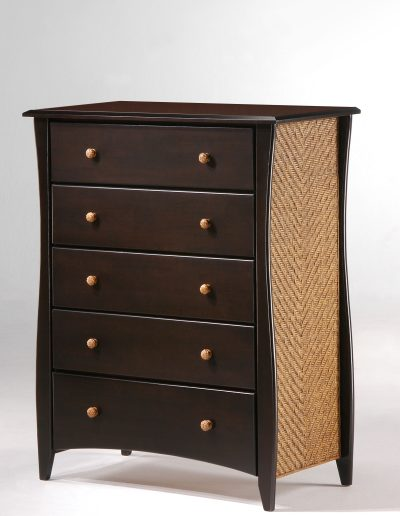 Clove 5 Drawer Dresser Dark Chocolate (Rattan Panel & Rattan Knobs)