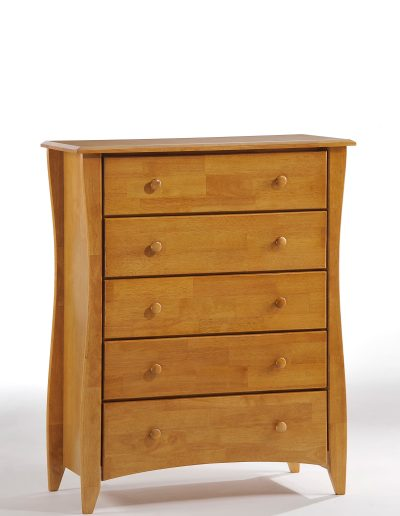 Clove 5 Drawer Dresser Medium Oak (Wood knobs)