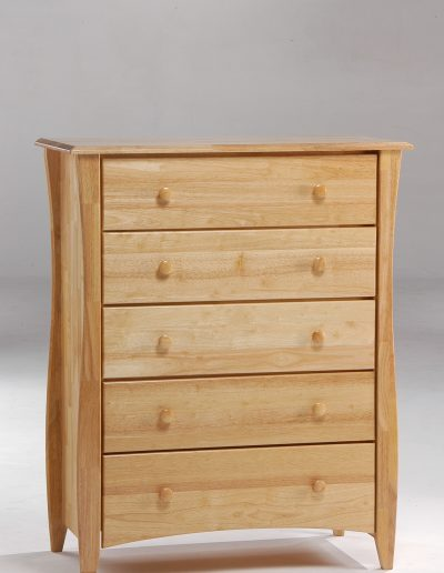 Clove 5 Drawer Dresser Natural (Wood Knobs)