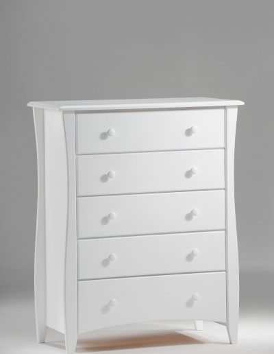 Clove 5 Drawer Dresser White (Wood Knobs)