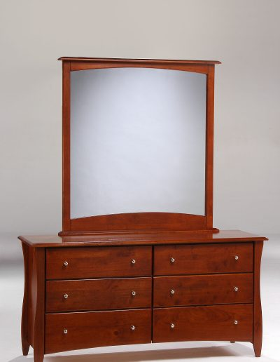 Clove 6 Drawer Dresser & Mirror Cherry (Metal Knobs)