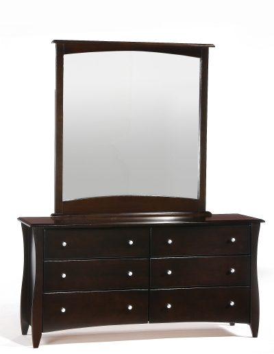 Clove 6 Drawer Dresser & Mirror Dark Chocolate (Metal Knobs)