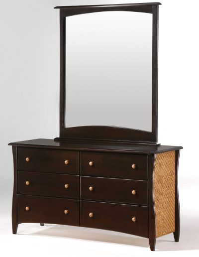 Clove 6 Drawer Dresser & Mirror Dark Chocolate (Rattan Panel & Rattan Knobs)