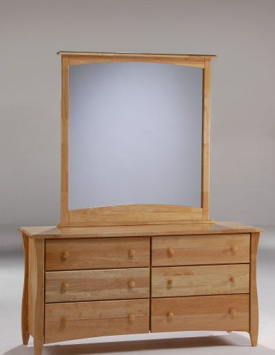 Clove 6 Drawer Dresser & Mirror Natural (Wood Knobs)