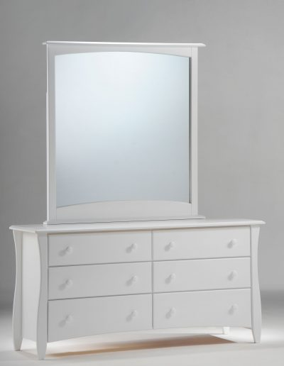 Clove 6 Drawer Dresser & Mirror White (Wood Knobs)