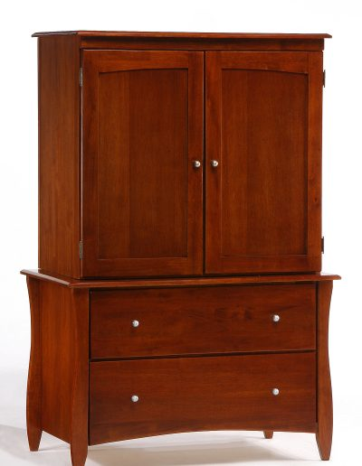 Clove Armoire Cherry w Top Unit closed