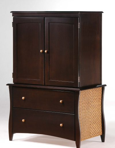 Clove Armoire Dark Chocolate (Rattan Panel & Rattan Knobs)