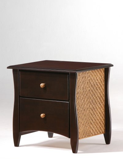 Clove Nightstand Dark Chocolate (Rattan Panel & Rattan Knobs) (2)