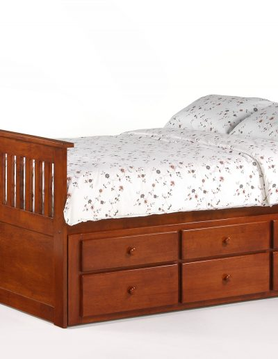 Ginger Captains Bed Full Cherry w Trundle closed