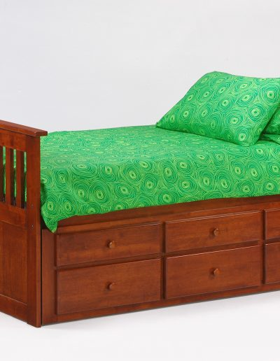 Ginger Captains Bed Twin Cherry w Drawers closed