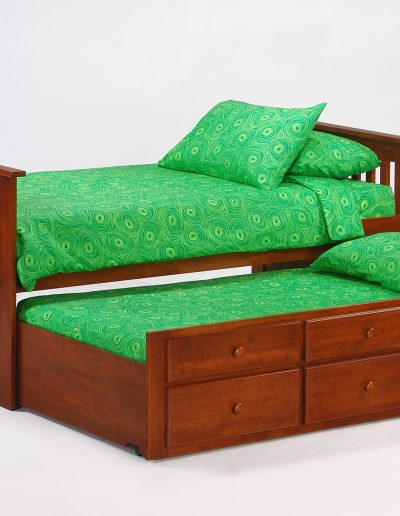 Ginger Captains Bed Twin Cherry w Trundle opened