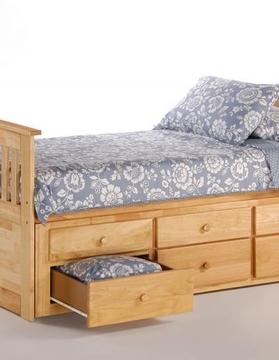 Ginger Captains Bed Twin Natural w Trundles Drawer opened